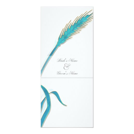 Turquoise gold wedding wheat card