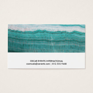 Turquoise Granite Stone Layered Wave Print Business Card