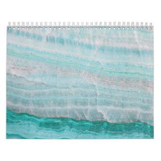 Turquoise Granite Stone Layered Wave Print Calendar