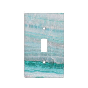 Turquoise Granite Stone Layered Wave Print Light Switch Cover