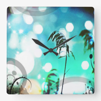 Turquoise Grass Art Sparkle Wall Clock