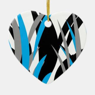 Turquoise Grass Design Ceramic Ornament