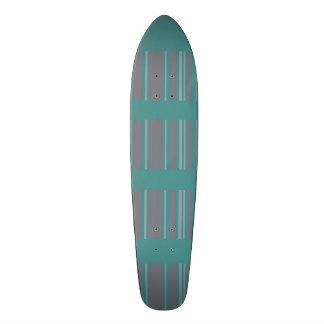 Turquoise gray awning stripe pattern STRIPE14 Skateboard Deck