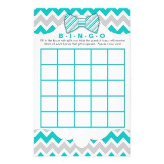 Turquoise gray Bingo purse boy baby shower games Flyer