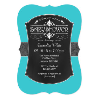 Turquoise Gray Chalkboard Baby Shower Invitation