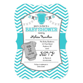 turquoise and gray baby shower invitations announcements zazzle