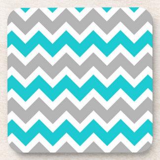 Turquoise Gray Chevron Modern Coasters