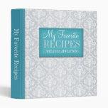 """Turquoise & Gray Damask 1"""" Recipe Binder"""