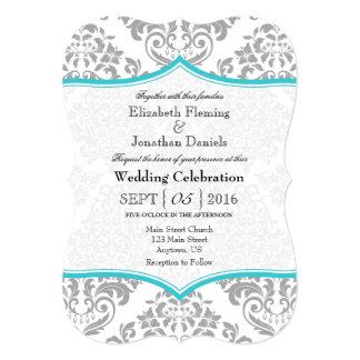 Turquoise Gray Damask Bracket Wedding Invite