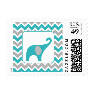 Turquoise Gray Elephant Neutral Baby Shower Postage Stamp