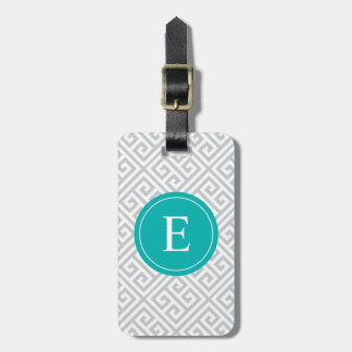 Turquoise & Gray Greek Key   Luggage Tag