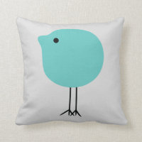 Turquoise & Gray Modern Chick Baby Nursery Pillow