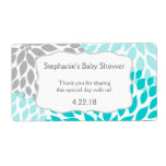 Turquoise Gray Mums Water Bottle Favor Shipping Label