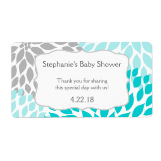 Turquoise Gray Mums Water Bottle Favor Label