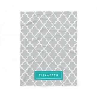 Turquoise & Gray Quatrefoil | Fleece Blanket