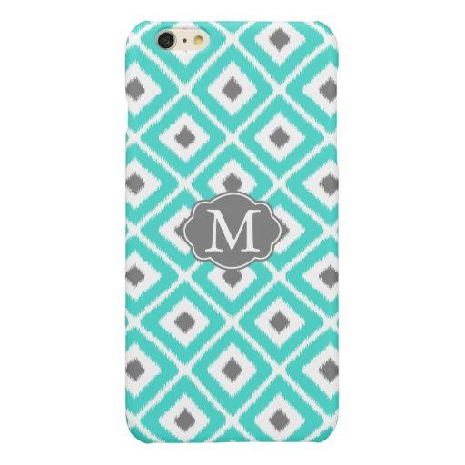 Turquoise, Gray, White Ikat Diamond Pattern Glossy iPhone 6 Plus Case