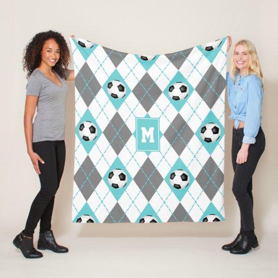 turquoise gray white soccer themed argyle pattern fleece blanket