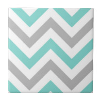 Turquoise, Gray, Wht Large Chevron ZigZag Pattern Ceramic Tile