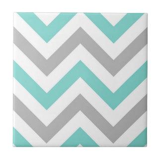Turquoise, Gray, Wht Large Chevron ZigZag Pattern Ceramic Tile