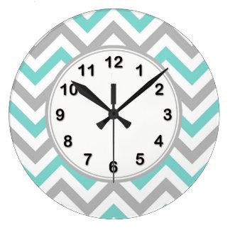 Turquoise, Gray, Wht Large Chevron ZigZag Pattern Large Clock