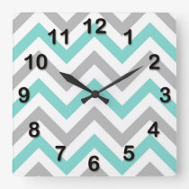 Turquoise, Gray, Wht Large Chevron ZigZag Pattern Square Wall Clock