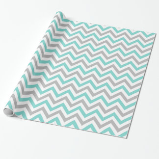 Turquoise, Gray, Wht Large Chevron ZigZag Pattern Wrapping Paper
