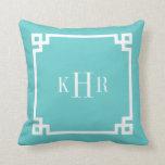 Turquoise Greek Key Border Custom Monogram Throw Pillow