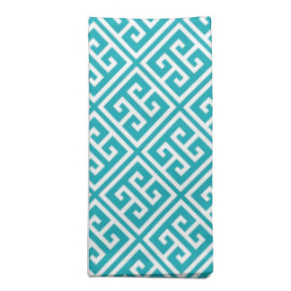 Turquoise Greek Key Pattern Napkin