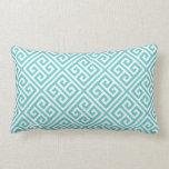 Turquoise Greek Key Pattern Pillow