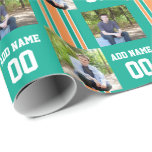Turquoise Green and Orange Custom Sports Jersey Gift Wrapping Paper