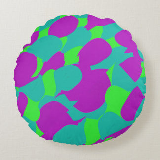 Turquoise, Green, and Purple Pattern Round Pillow