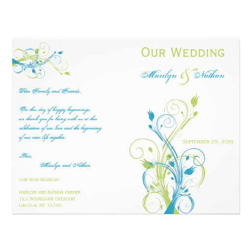 """Turquoise, Green, and White Floral Wedding Program 8.5"""" X 11"""" Flyer"""