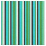 [ Thumbnail: Turquoise, Green, Aquamarine, Mint Cream & Black Fabric ]