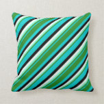 [ Thumbnail: Turquoise, Green, Aquamarine, Mint Cream & Black Throw Pillow ]