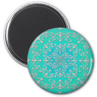Turquoise Green Blue Abstract Design Magnet