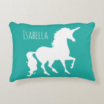 Turquoise Green Blue Unicorn Silhouette Girly Kids Accent Pillow