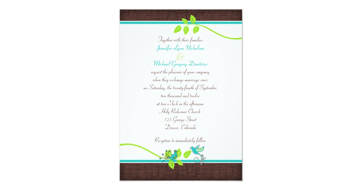 Turquoise And Brown Wedding Invitations: Turquoise Green Brown Crackle Wedding Invitation