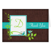 Turquoise Green Brown Floral Birds Thank You Card