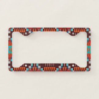 Turquoise Green Brown Orange White Mosaic Pattern License Plate Frame