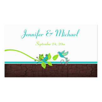 Turquoise Green Brown White Floral Birds Favor Tag Business Cards