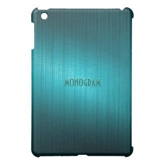 Turquoise-Green Brushed Metal Look-Monogram iPad Mini Cases