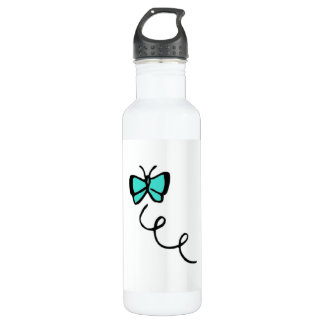 Turquoise Green Butterfly Stainless Steel Water Bottle