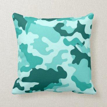 Turquoise Green Camo Throw Pillow