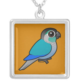 Turquoise Green-cheeked Conure Square Pendant Necklace