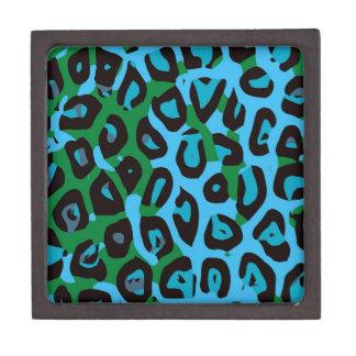 Turquoise Green Cheetah Abstract Keepsake Box