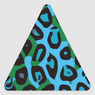 Turquoise Green Cheetah Abstract Triangle Sticker