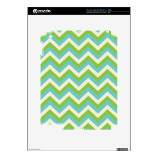 Turquoise/Green Chevron Skins For The iPad 2