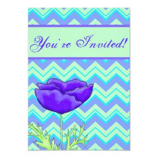 Turquoise, & Green Chevron ZizZag Purple Poppy 5x7 Paper Invitation Card
