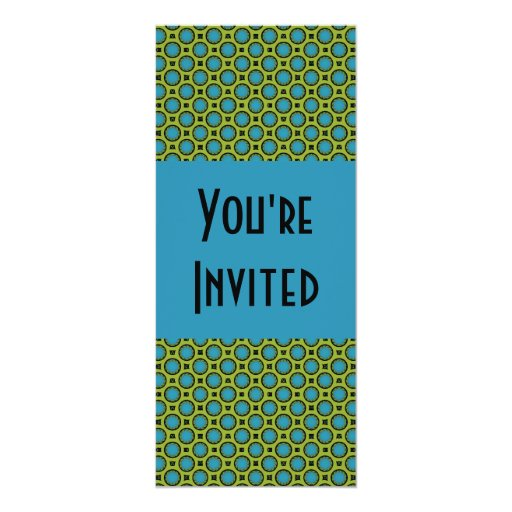 turquoise green circles 4x9.25 paper invitation card