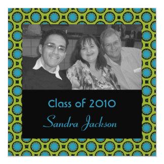turquoise green circles graduation card